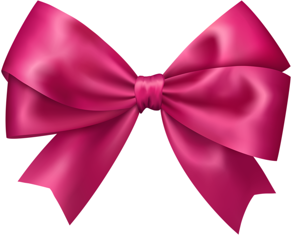 Bow Pink Transparent Clip Art Image.