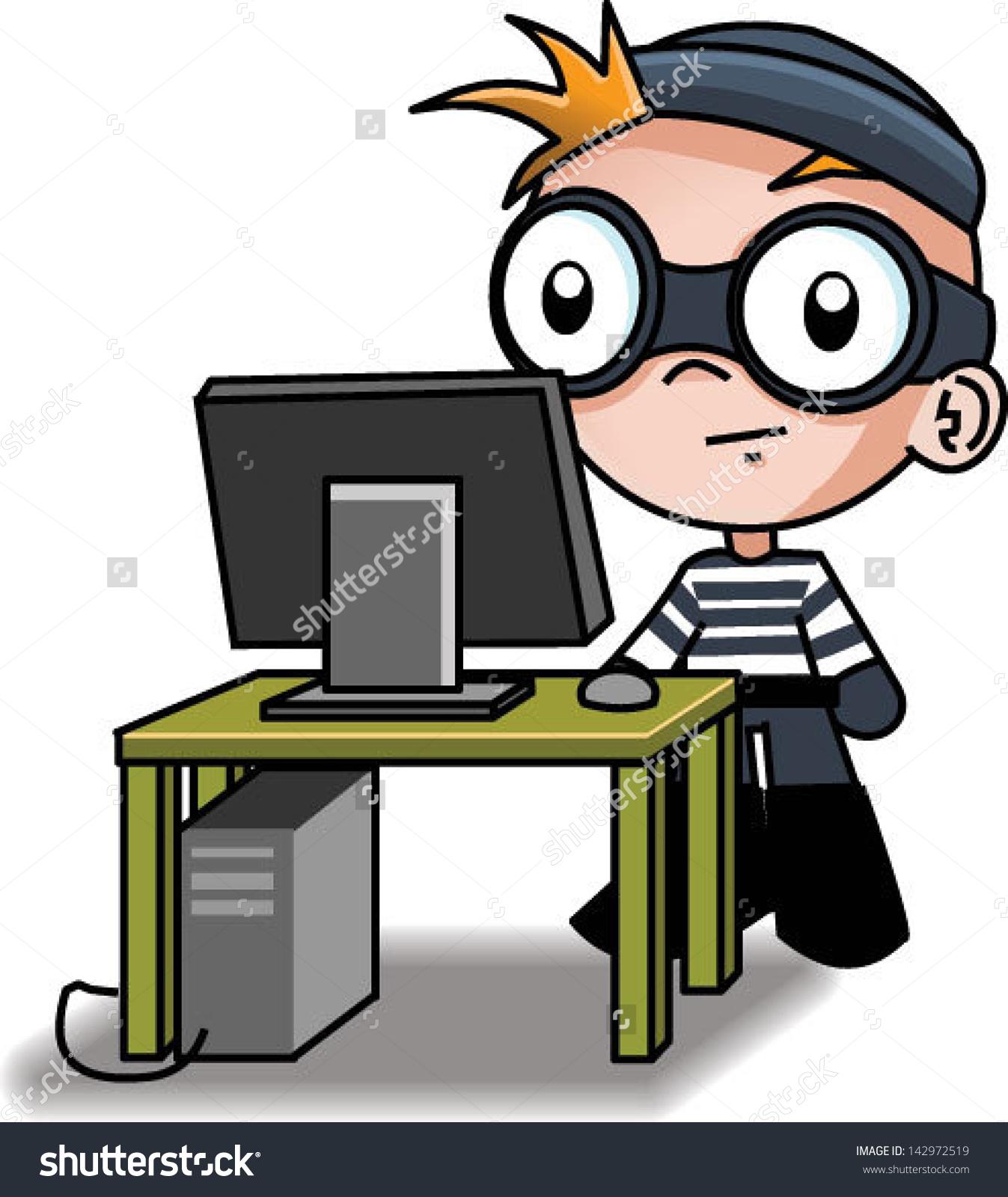 Cute Computer Hacker Vector Clip Art Stock Vector 142972519.