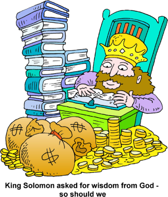 Image: King Solomon with a Pile of Money and a Stack of Books.