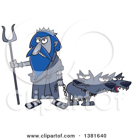 Clipart of a Cartoon Greek God, Hades, with His Three Headed Dog.