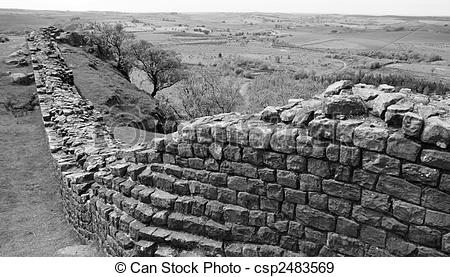 Stock Photographs of Hadrians Wall in Scotland csp2483569.