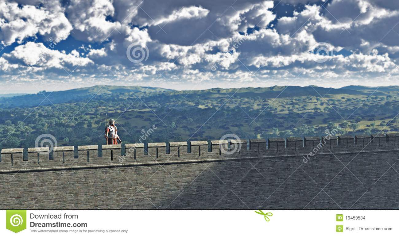 Roman Sentry On Hadrian's Wall Stock Images.