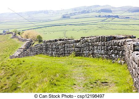Stock Photography of Hadrian's wall, Northumberland, England.