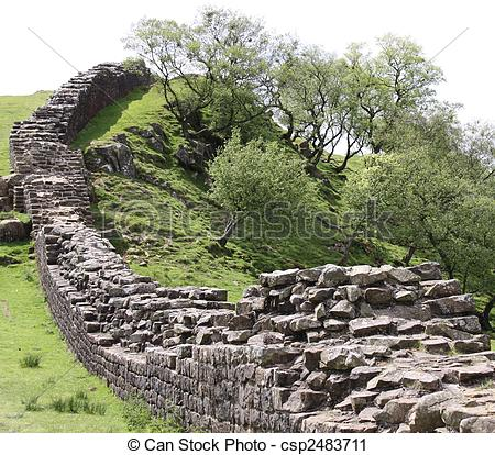 Stock Photography of Hadrians Wall landscape.