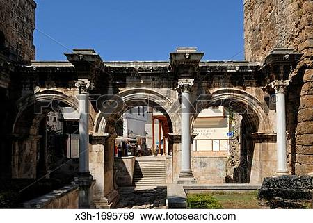 Stock Photograph of Hadrian's Gate, Kaleici, the old city center.