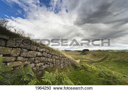 Stock Photography of Hadrian's Wall; Northumberland, England.