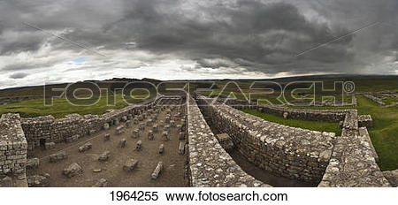 Stock Image of housesteads roman fort on hadrian's wall.