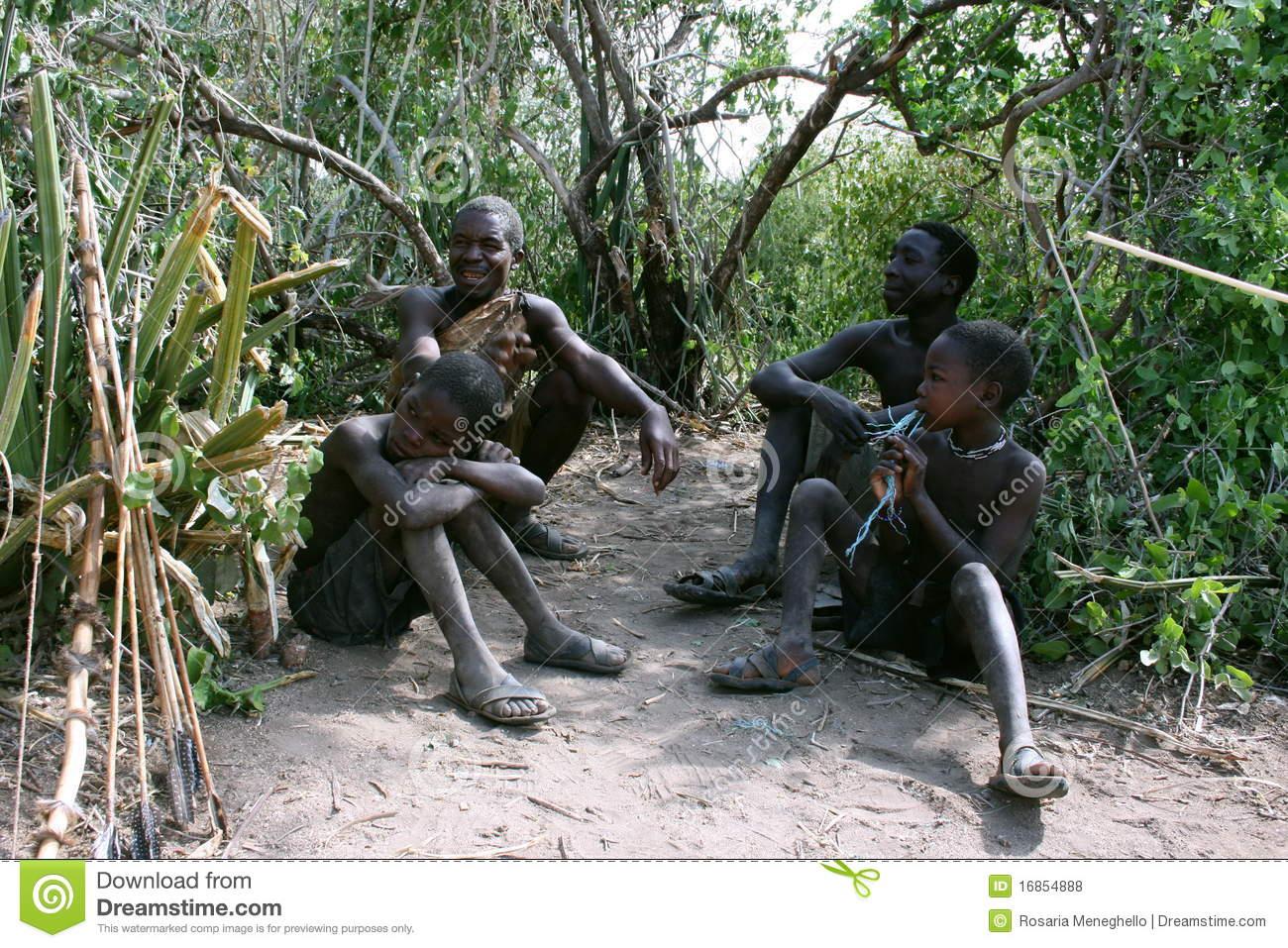 Africa,Tanzania Hadzabe Tribe Editorial Stock Photo.