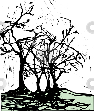 Harsh Trees and Shadows stock vector.
