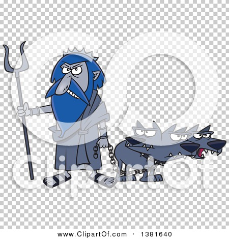 Clipart of a Cartoon Greek God, Hades, with His Three Headed Dog.