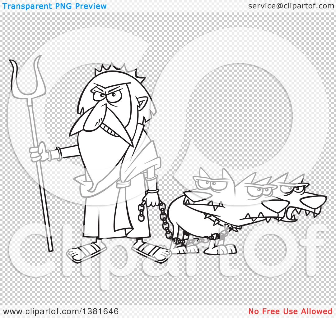 Clipart of a Cartoon Black and White Greek God, Hades, with His.