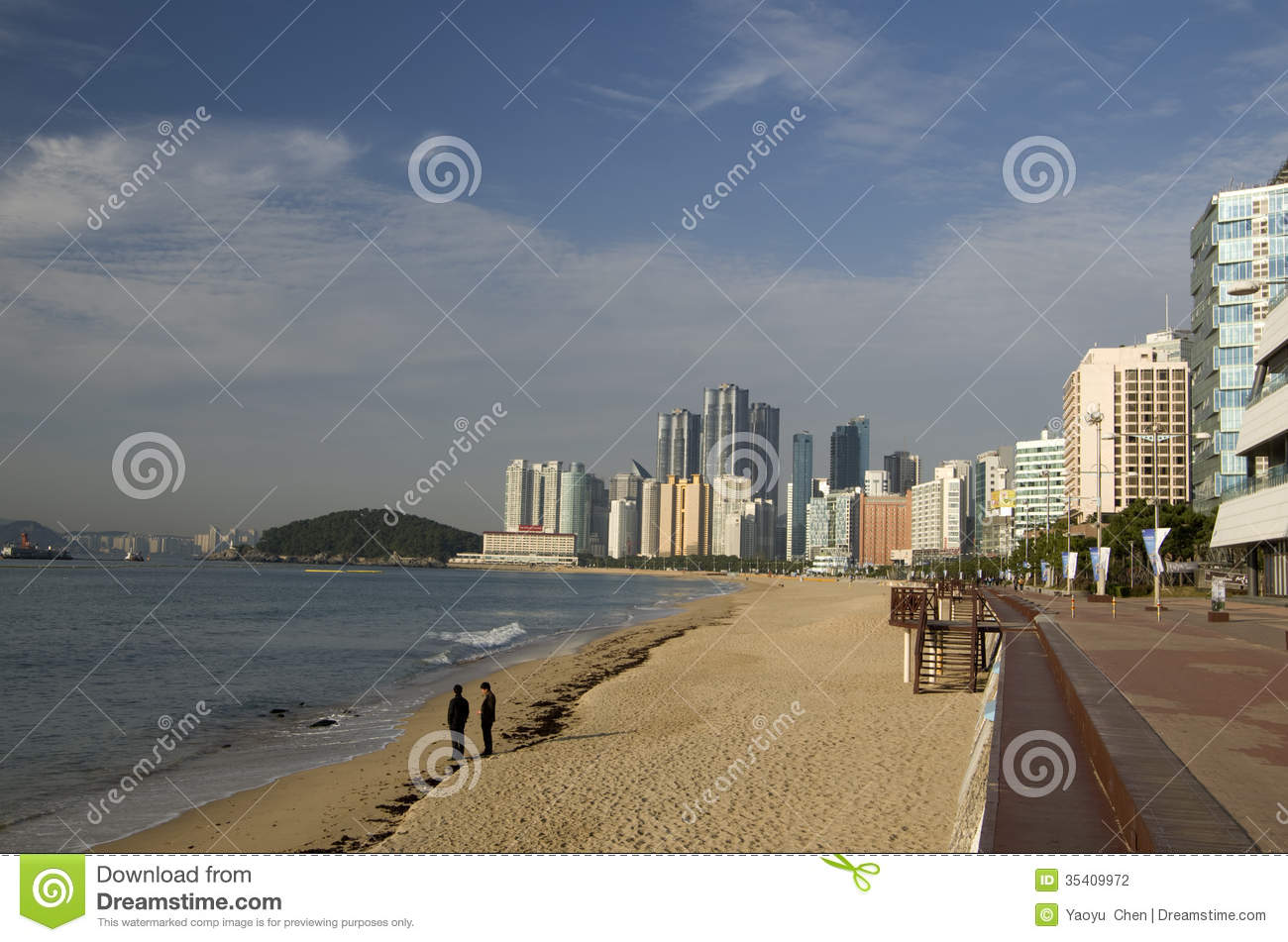 Modern Architecture Haeundae Beach Morning Sun Busan Korea.
