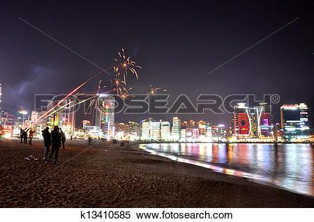 Stock Image of Firework on Haeundae Beach, Busan k13410585.