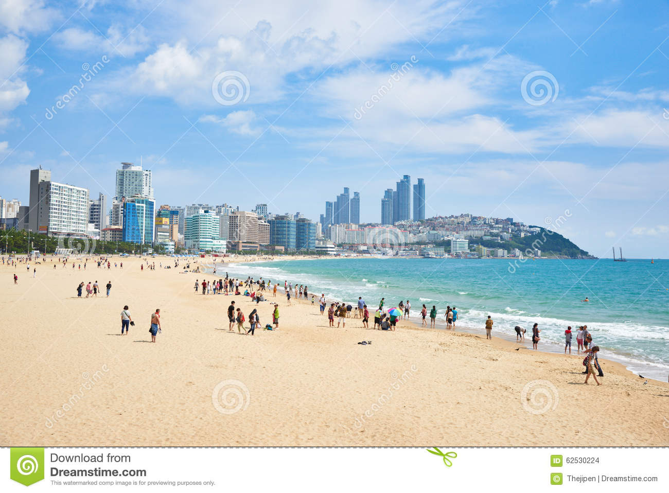 Haeundae Beach, Busan, South Korea Editorial Stock Image.