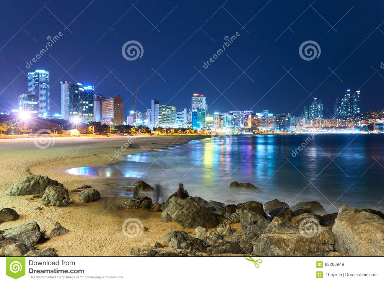 Haeundae Beach In Night Stock Photo.