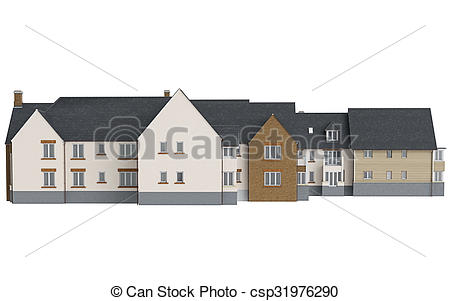 Stock Illustration von haus, Fassade, land, Front, mauerstein.