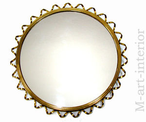 vintage Brass Loop Wall Mirror Mid.