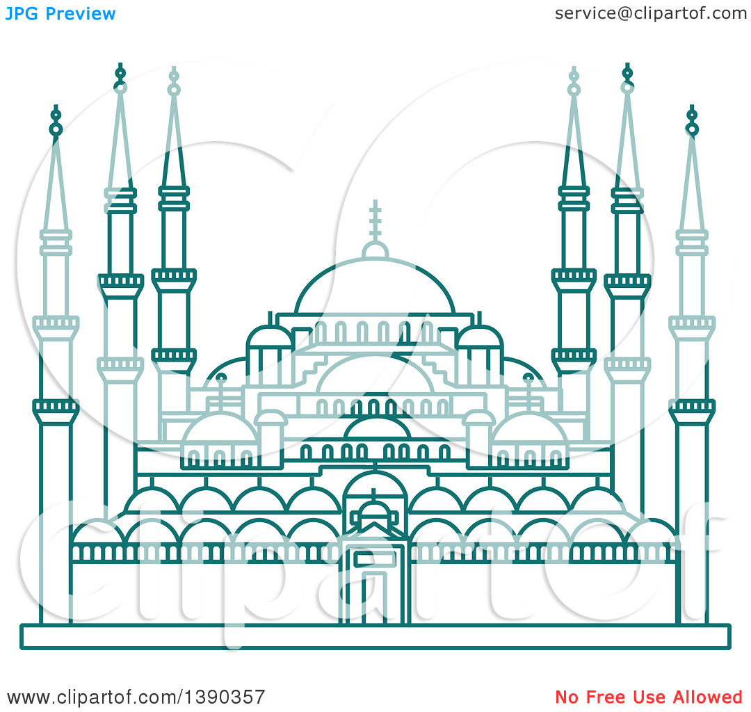 Clipart of a Turquoise Lineart Styled Landmark, Hagia Sophia.