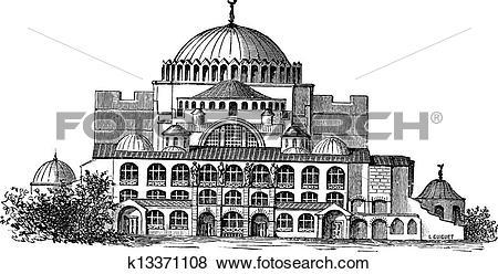 Clip Art of Hagia Sophia in Istanbul, Turkey, vintage engraving.