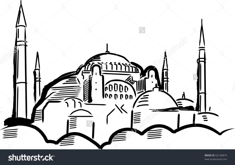 Hagia Sofia Vector Illustration Stock Vector 62136874.