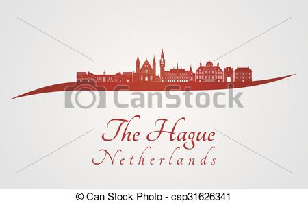 EPS Vector of The Hague V2 skyline in red.