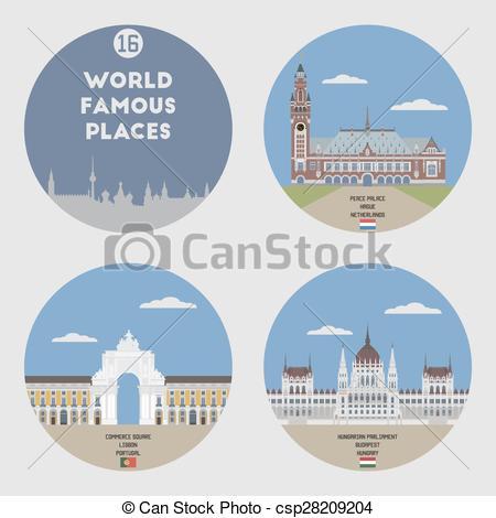 Vector Clipart of World famous places. Set 16: Lisbon, Budapest.
