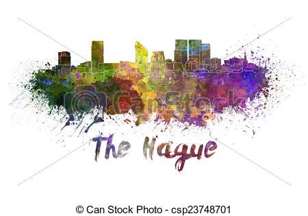 Stock Illustration of The Hague skyline in watercolor splatters.