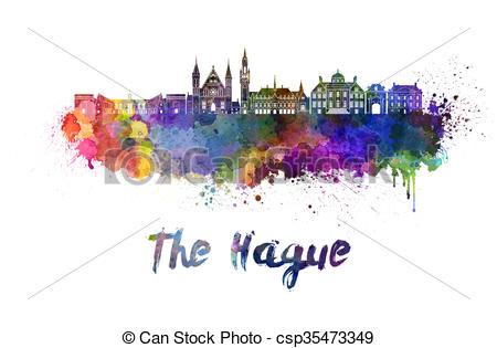 Drawing of The Hague skyline in watercolor splatters csp35473349.
