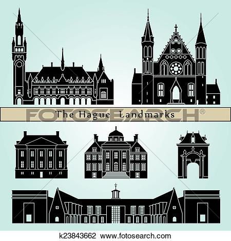 Clipart of The Hague landmarks and monuments k23843662.