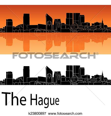 Clip Art of The Hague skyline in orange background k23800897.