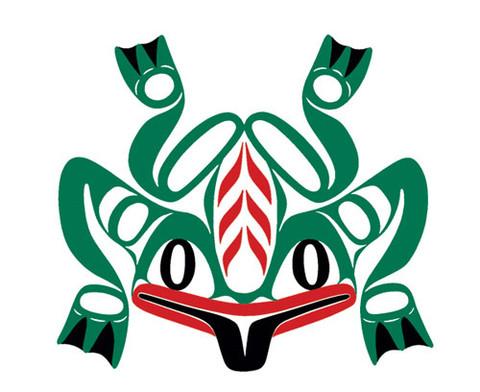 Native temporary tattoo, frog, Haida design.