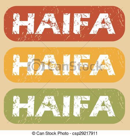 Vector Clip Art of Vintage Haifa stamp set.