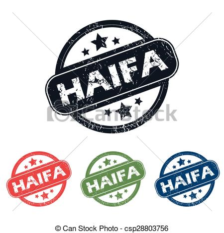 Clipart Vector of Round Haifa city stamp set.