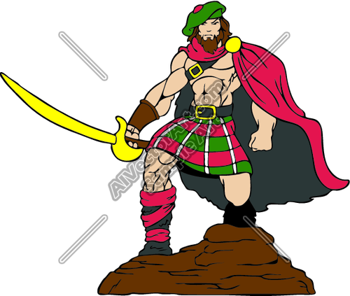 Highlander_5 Clipart and Vectorart: Sports Mascots.