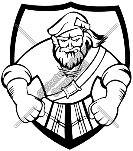 highlander02V4BW Clipart and Vectorart: Sports Mascots.
