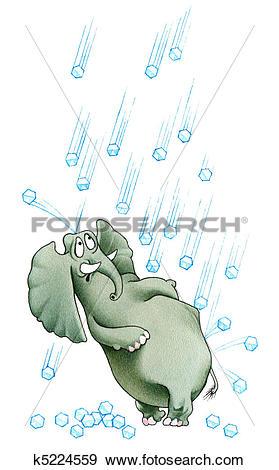 Stock Illustration of Elephant under hailstones k5224559.