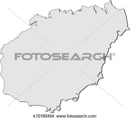 Clipart of Map of Hainan (China) k10160454.