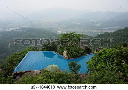 Stock Photography of Swimming pool on hilltop at Yalong Bay.