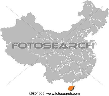 Clip Art of Map of China, Hainan highlighted k9804909.