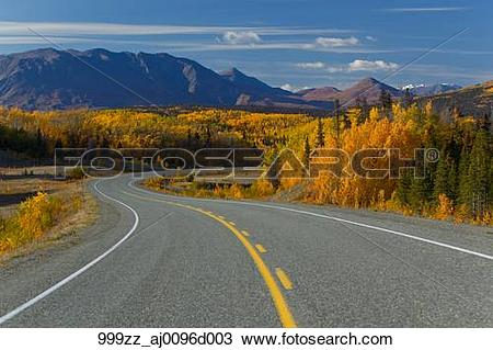 Stock Photo of Scenic view of the Alaska Highway between Haines.