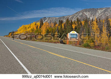 Stock Photography of View of scenery and Yukon Territory sign.