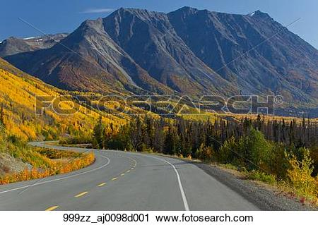 Stock Photography of Scenic view of the Alaska Highway between.
