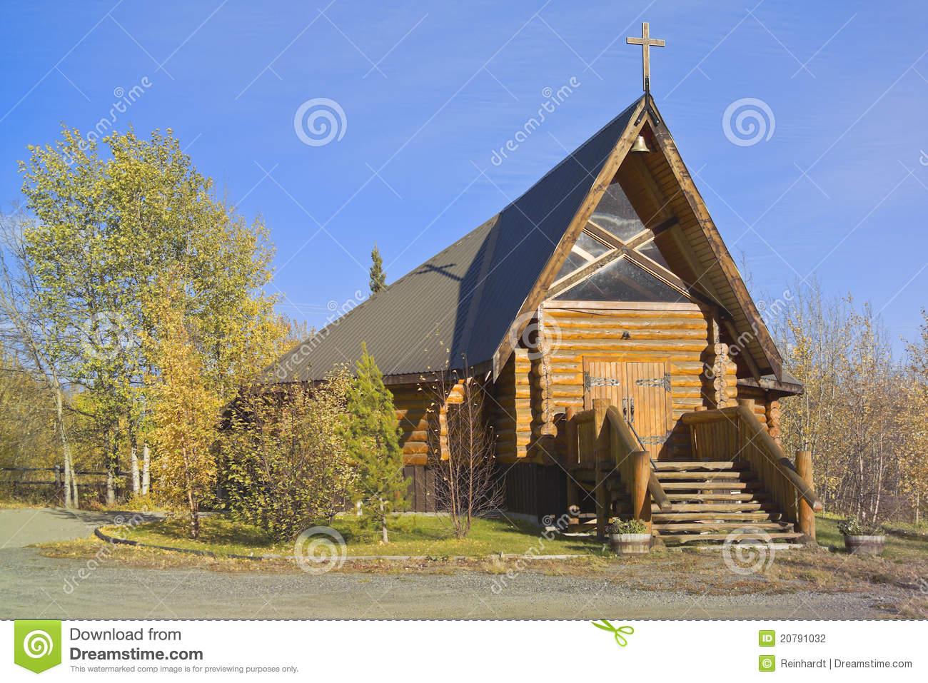 Log Church, Haines Junction, Yukon, Canada Stock Photography.