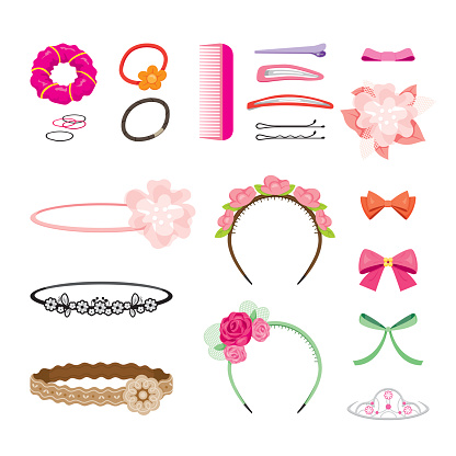 Hair accessories clip art.