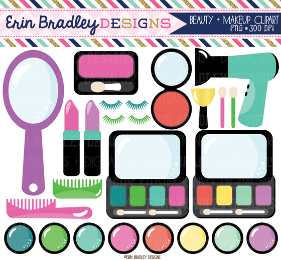 Erin Bradley Designs: Makeup Clipart and New Floral Elements.