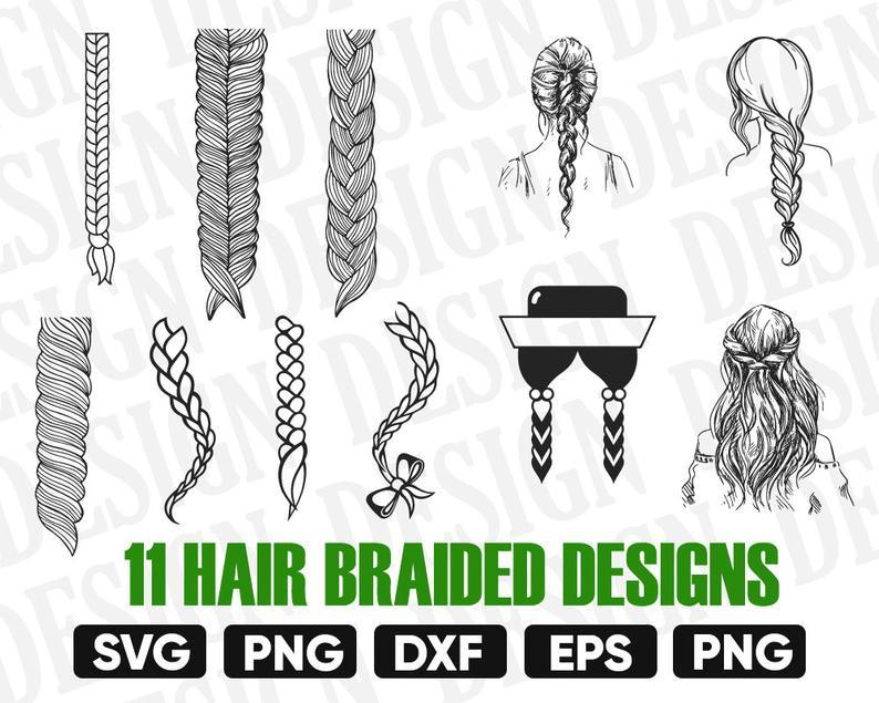 Hair braided svg, braid clipart, braid svg, hair braided silhouette, braid  cricut, plait cut files, clip art, digital download designs svg.
