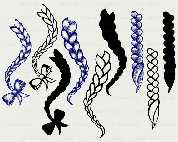 Hair braided svg/braid clipart/braid svg/hair braided silhouette/braid  cricut/plait cut files/clip art/digital download designs/svg.
