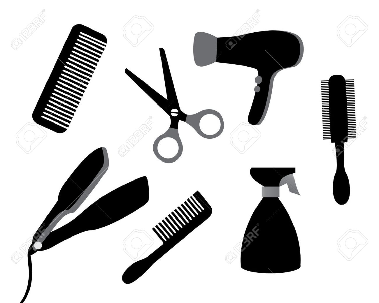 set of different tools for hair care on a white background.