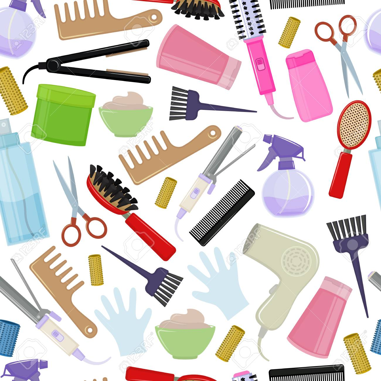 Seamless background of colorful equipments for styling and hair...