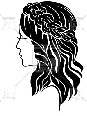 Female with long hair and classic braided plait illustration isolated on  the white background Vector Image.